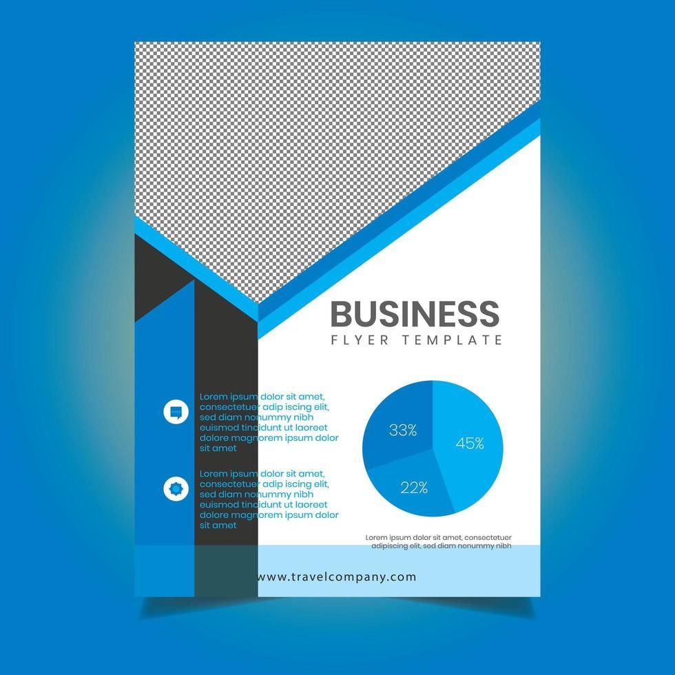 modello di volantino blu per ufficio aziendale vettore