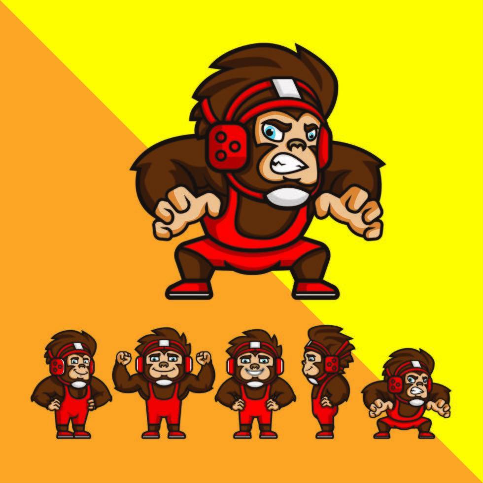set di scimmie lottatore di cartone animato vettore