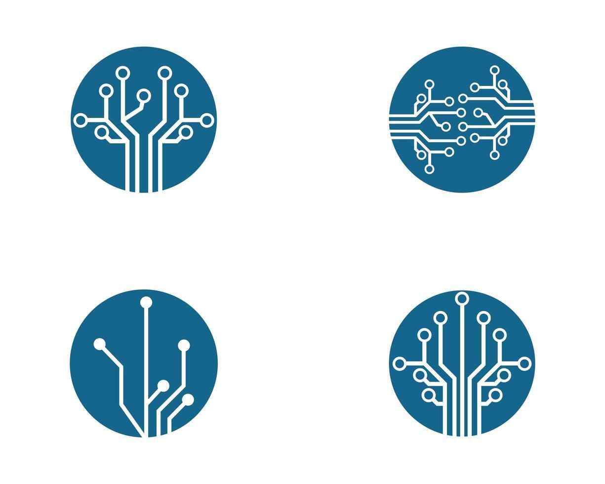 insieme blu di progettazione dell'illustrazione di simbolo del circuito vettore