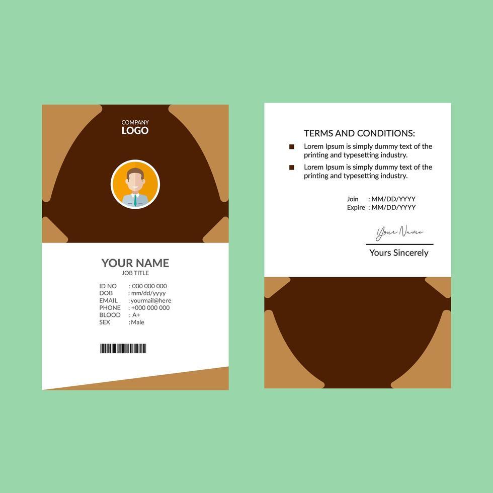 modello di progettazione marrone carta d'identità vettore