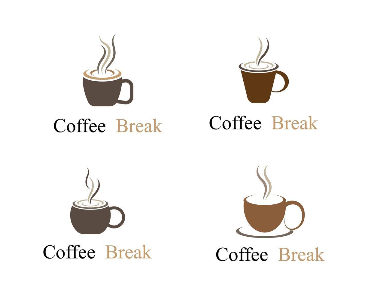 logo della tazza di pausa caffè vettore