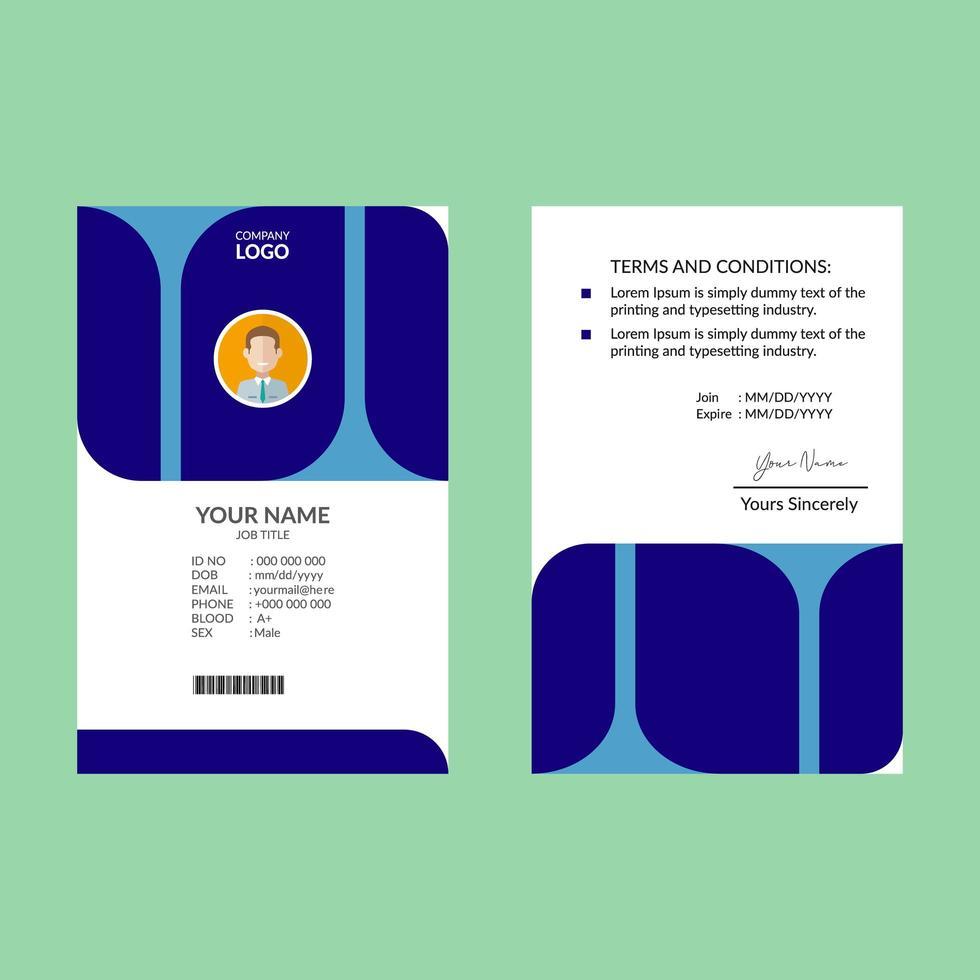 modello di progettazione carta d'identità di forma arrotondata blu vettore