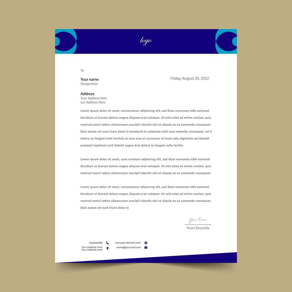 modello di rilievo di carta intestata blu con forme arrotondate vettore