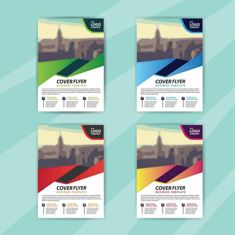 modello di business flyer impostato con forma dinamica colorata vettore