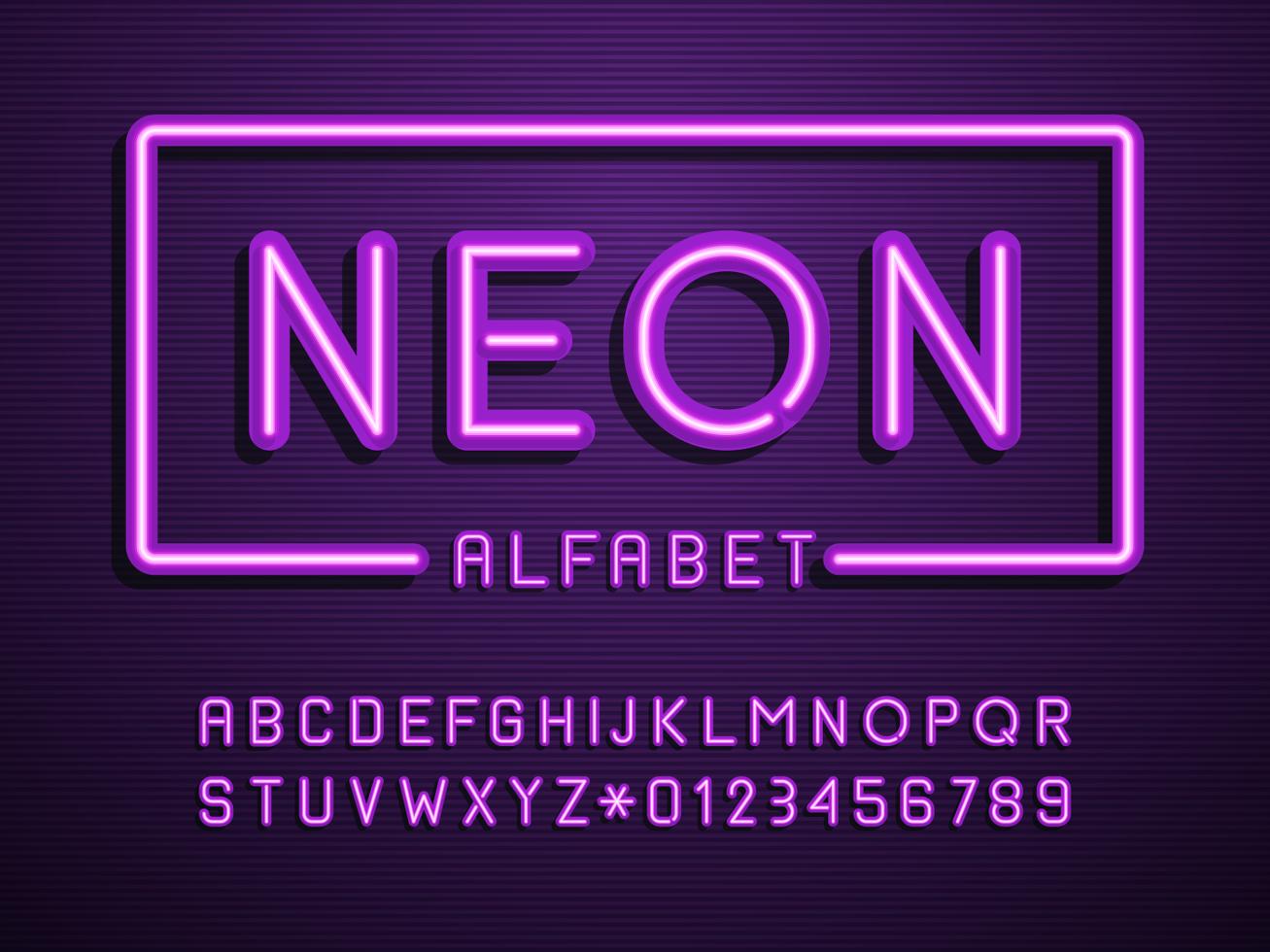 alfabeto viola luce al neon vettoriale