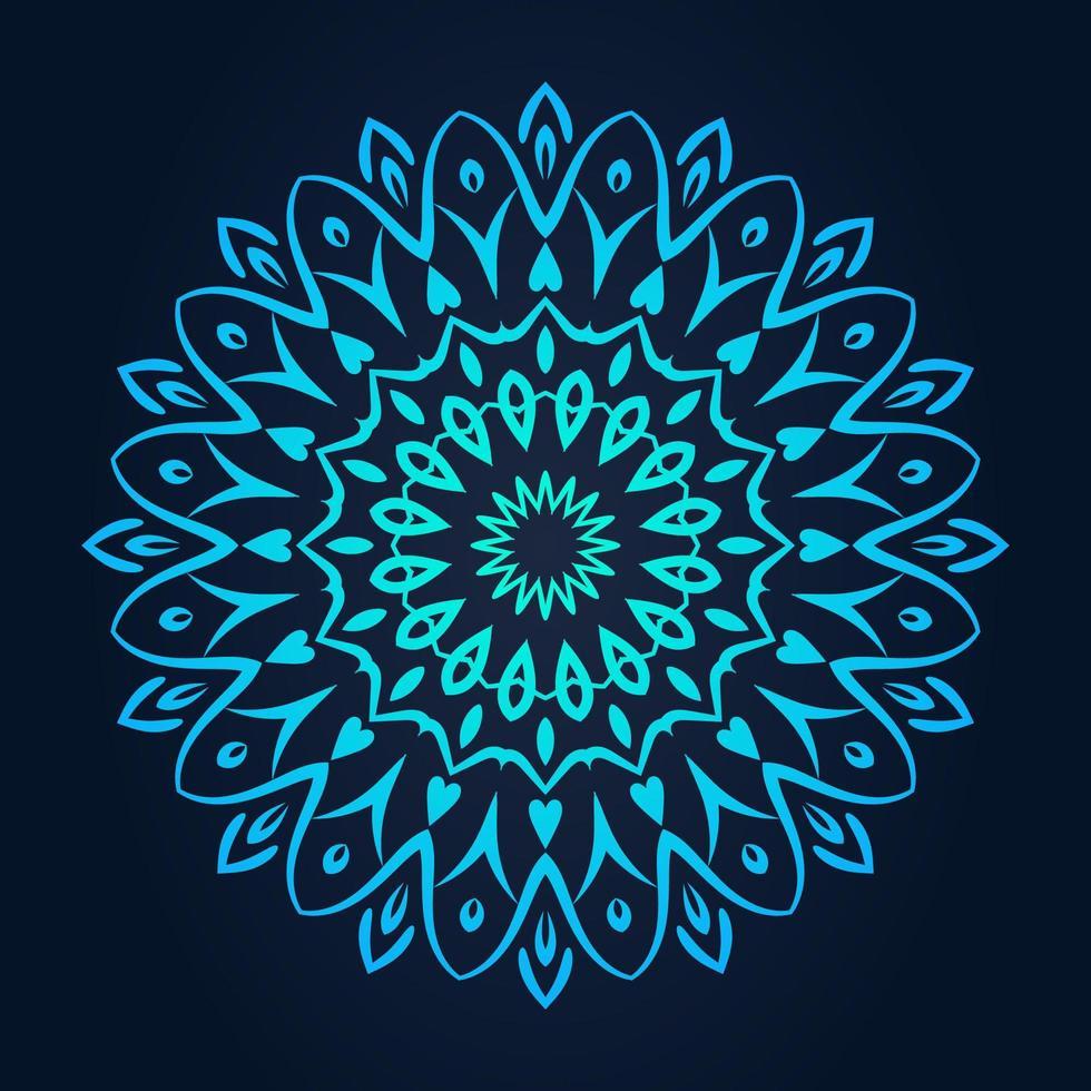 motivo a pizzo rotondo ornamentale sfumato blu vettore