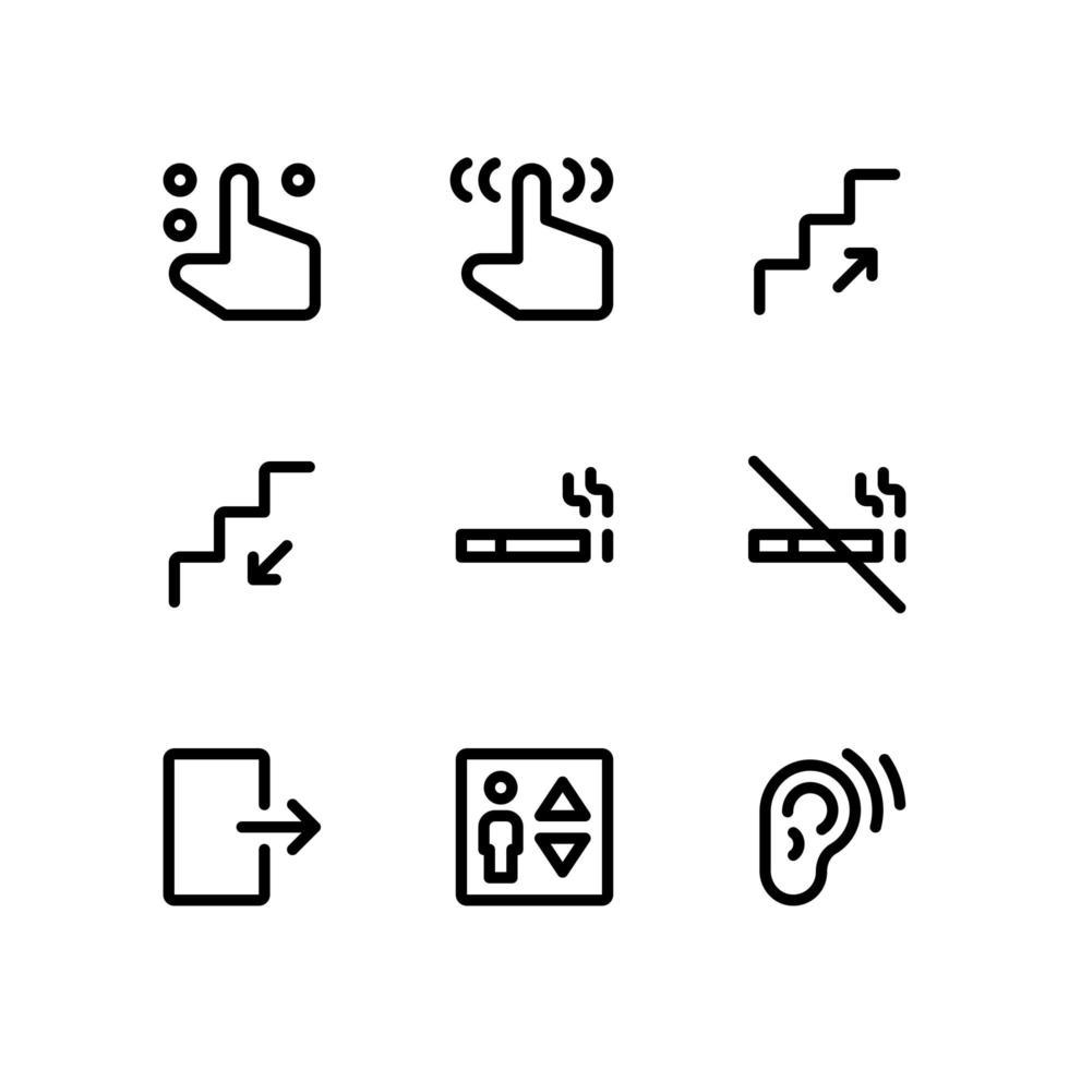 icone delle linee di ricerca del percorso, tra cui pulsante dito, scala e altro vettore