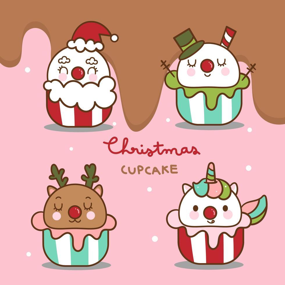 cibo kawaii di Natale cupcakes inverno carino vettore