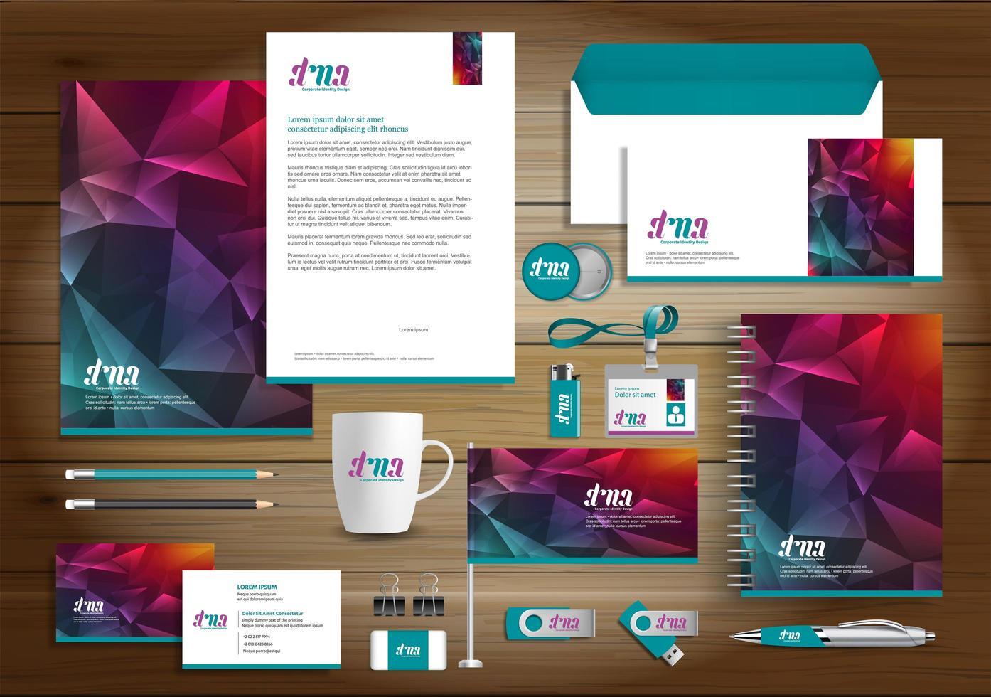 set di identità geometrica arcobaleno e articoli promozionali vettore