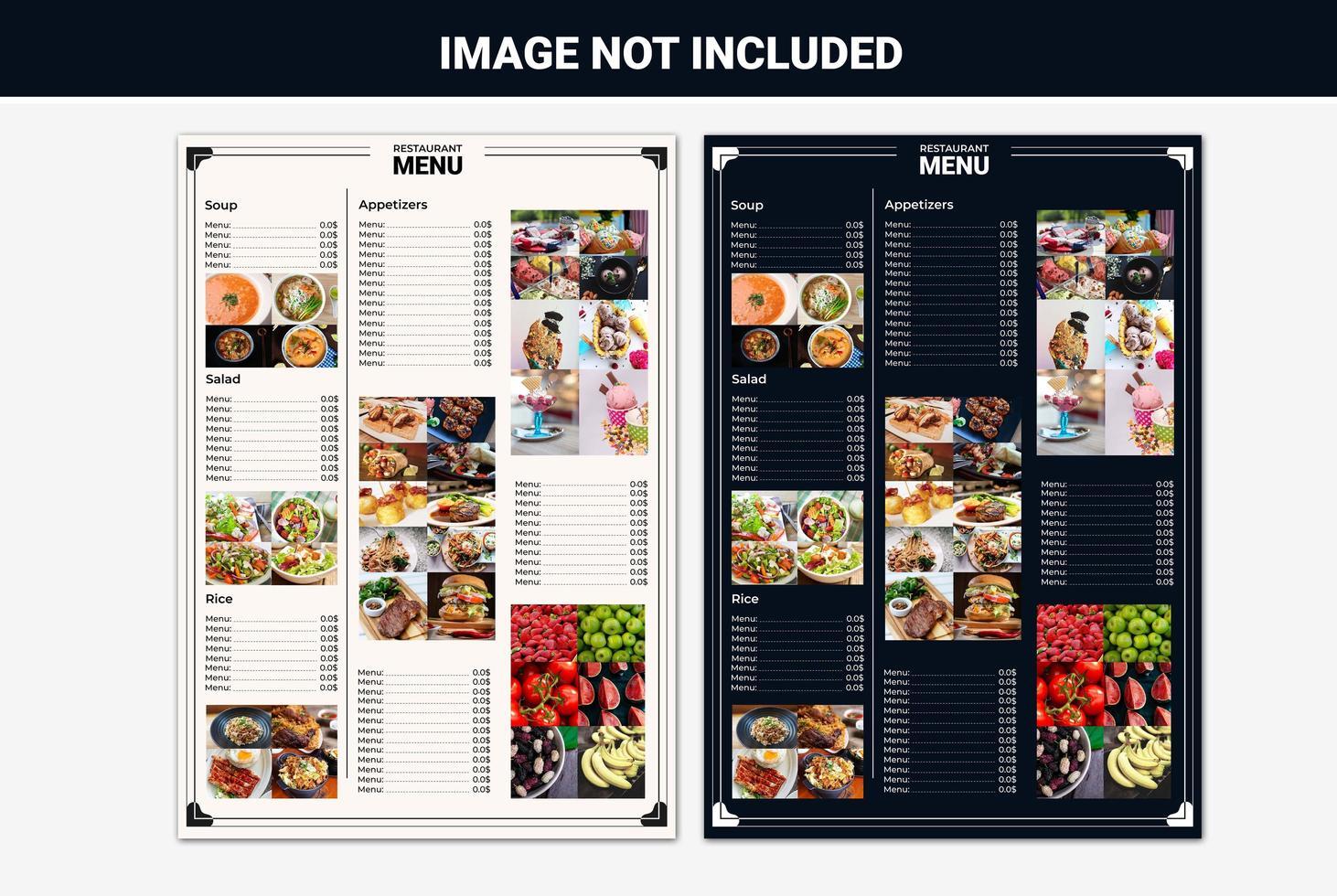 elenco dei menu del ristorante impostato per più immagini vettore
