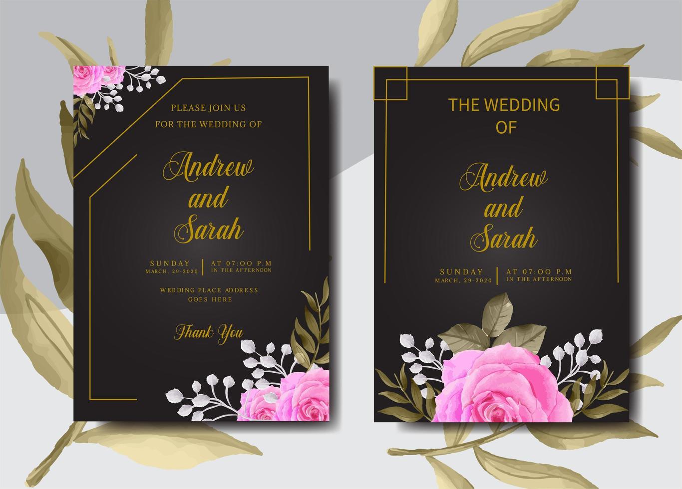 set di carte invito matrimonio dell'acquerello vettore
