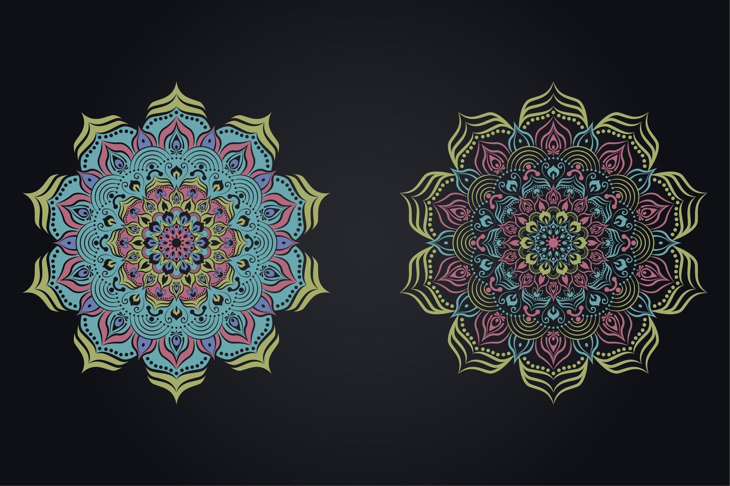 mandala impostato in diversi stili di colore vettore