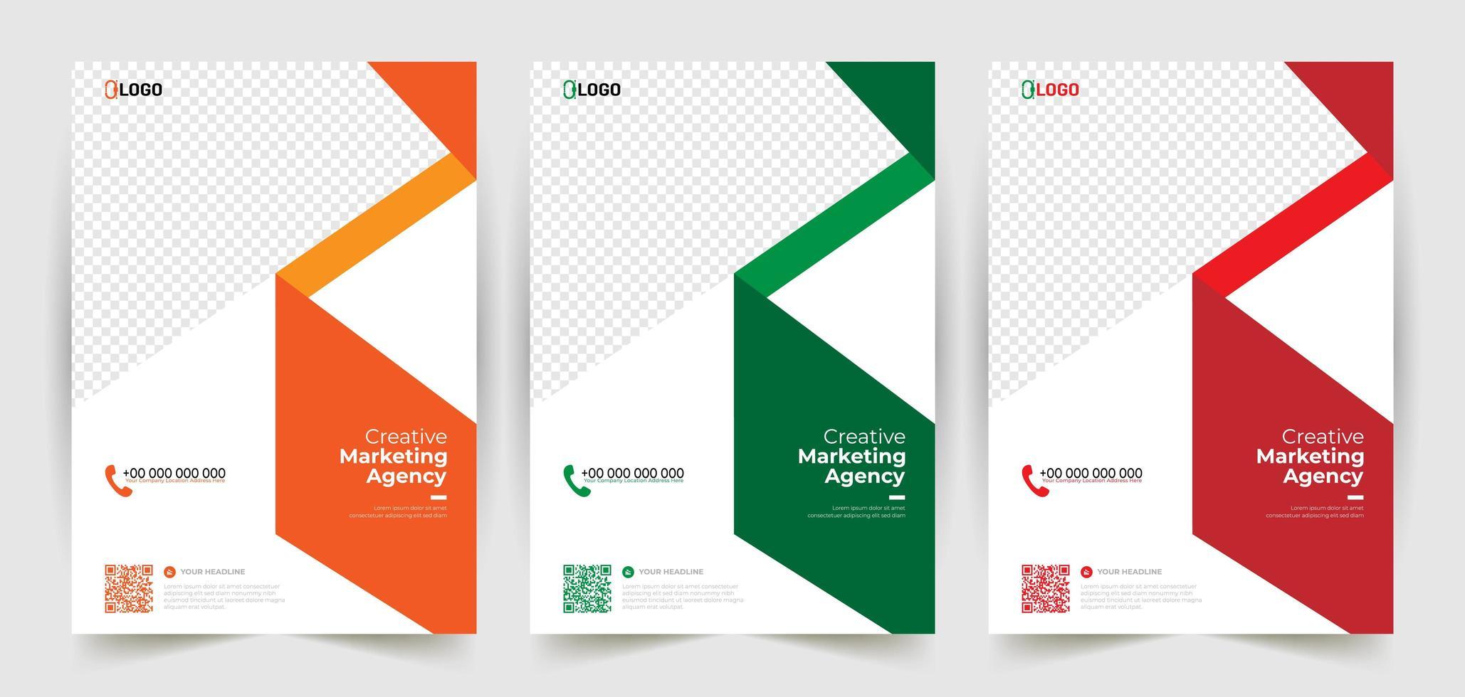modelli di design volantino brochure ad angolo vettore