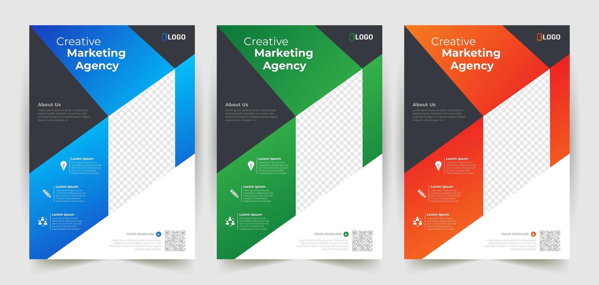modello di business flyer impostato con forme angolate vettore
