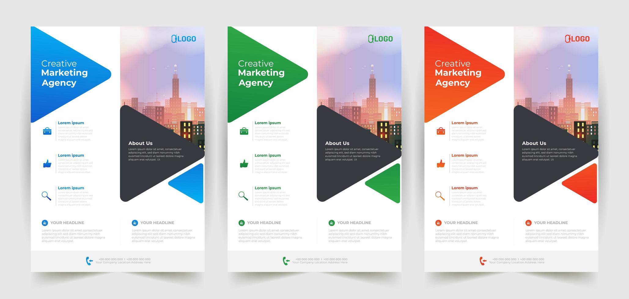 modelli di business flyer con forme triangolari vettore