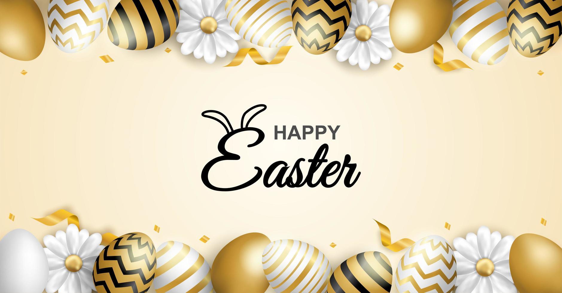poster di buona Pasqua con bordo uovo fantasia vettore