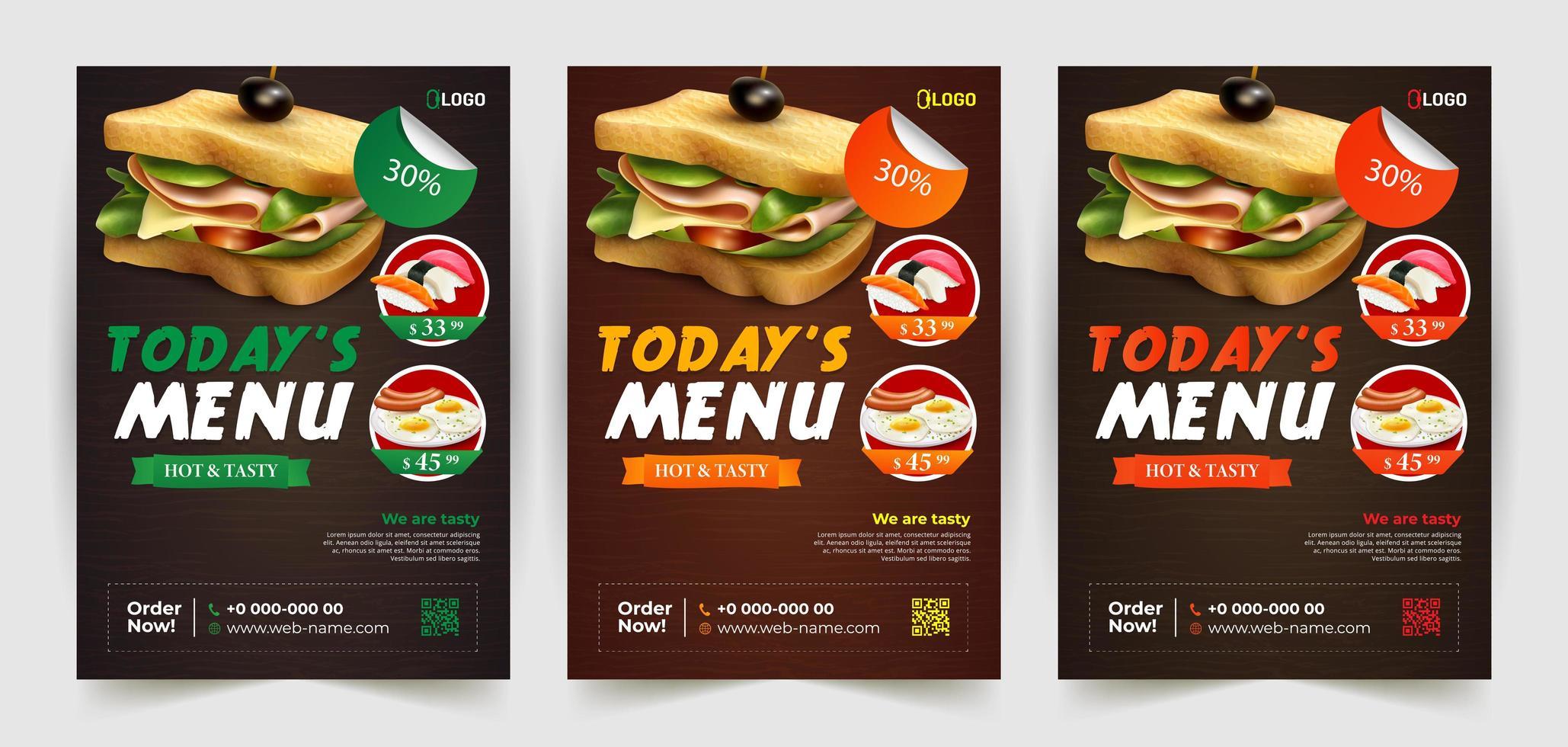 sandwich e altri modelli di volantini alimentari vettore