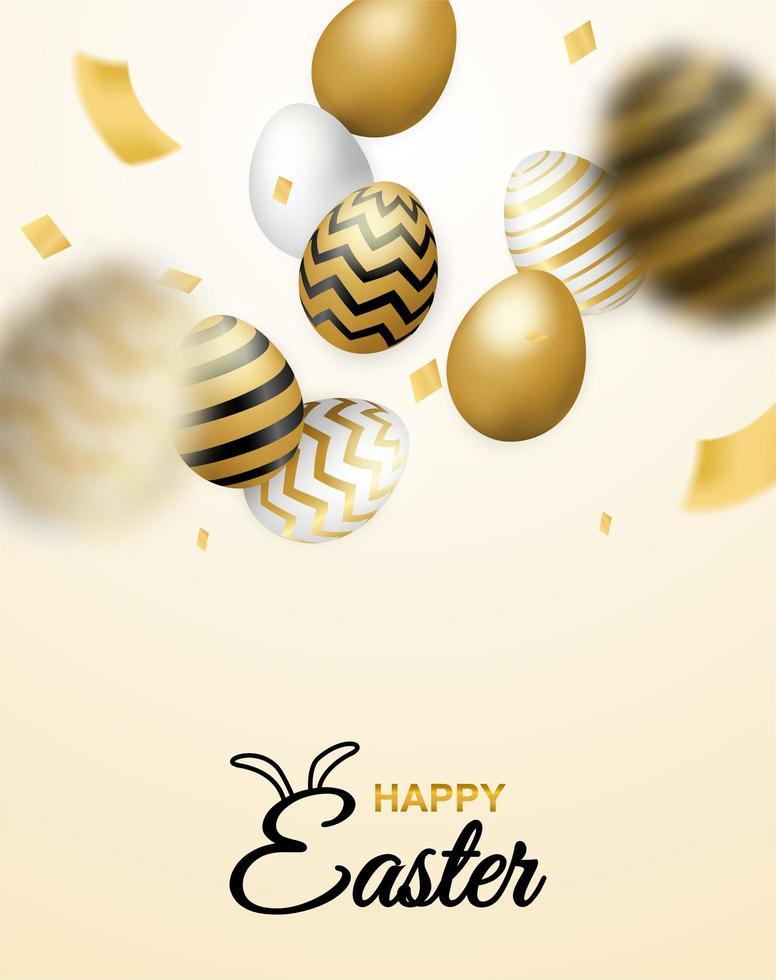 poster verticale celebrazione di Pasqua con uova che cadono e coriandoli vettore