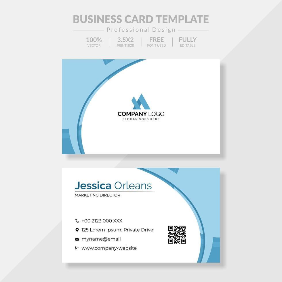 business card design a tema bianco e blu vettore