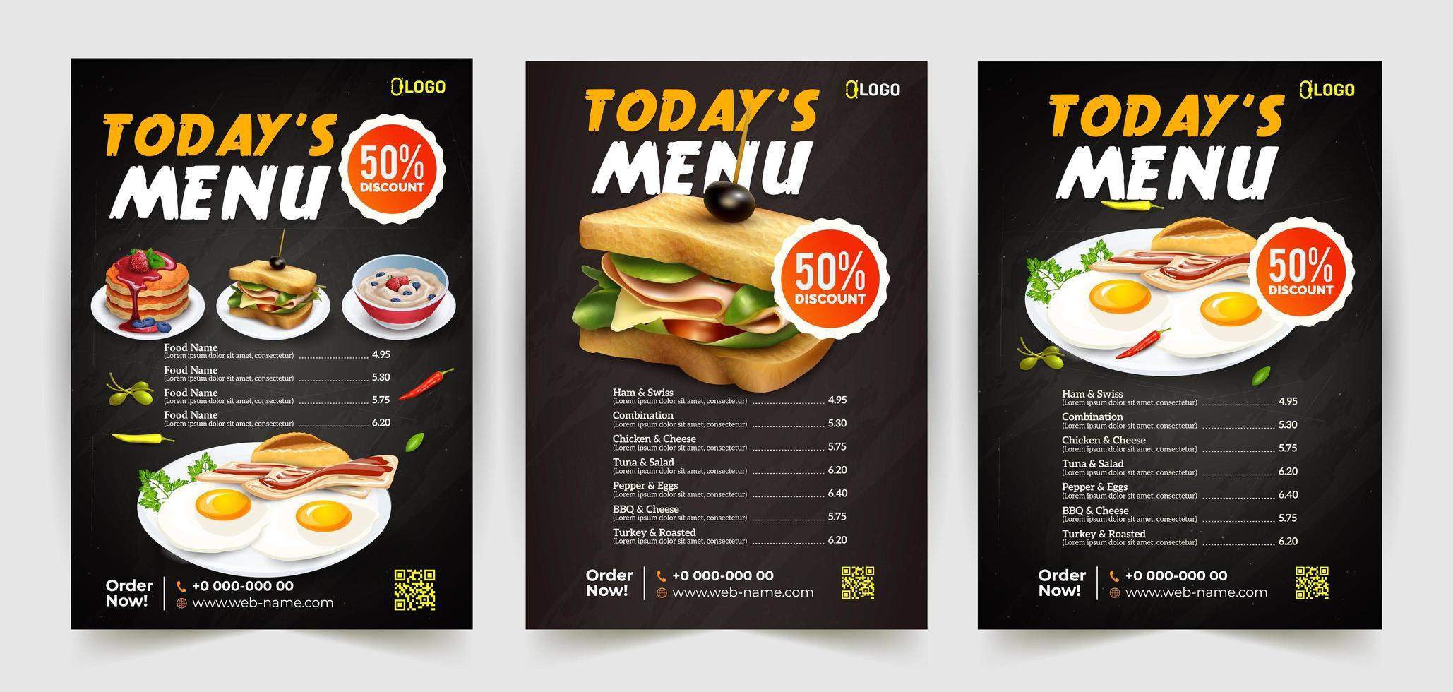 set di volantini per fast food con 3 opzioni di cibo vettore