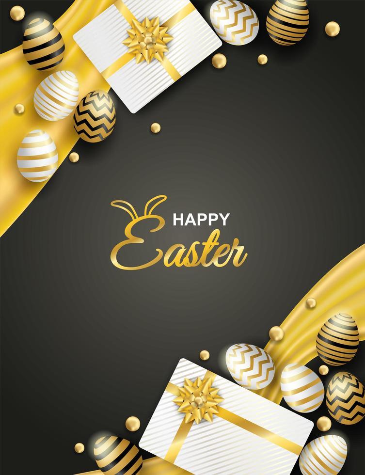 poster verticale con uova di Pasqua e scatole regalo vettore
