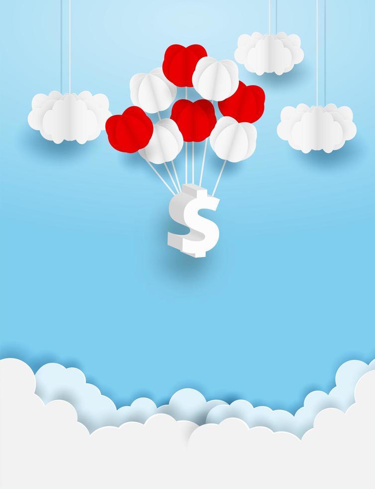 segno del dollaro che pende dagli aerostati in cielo vettore