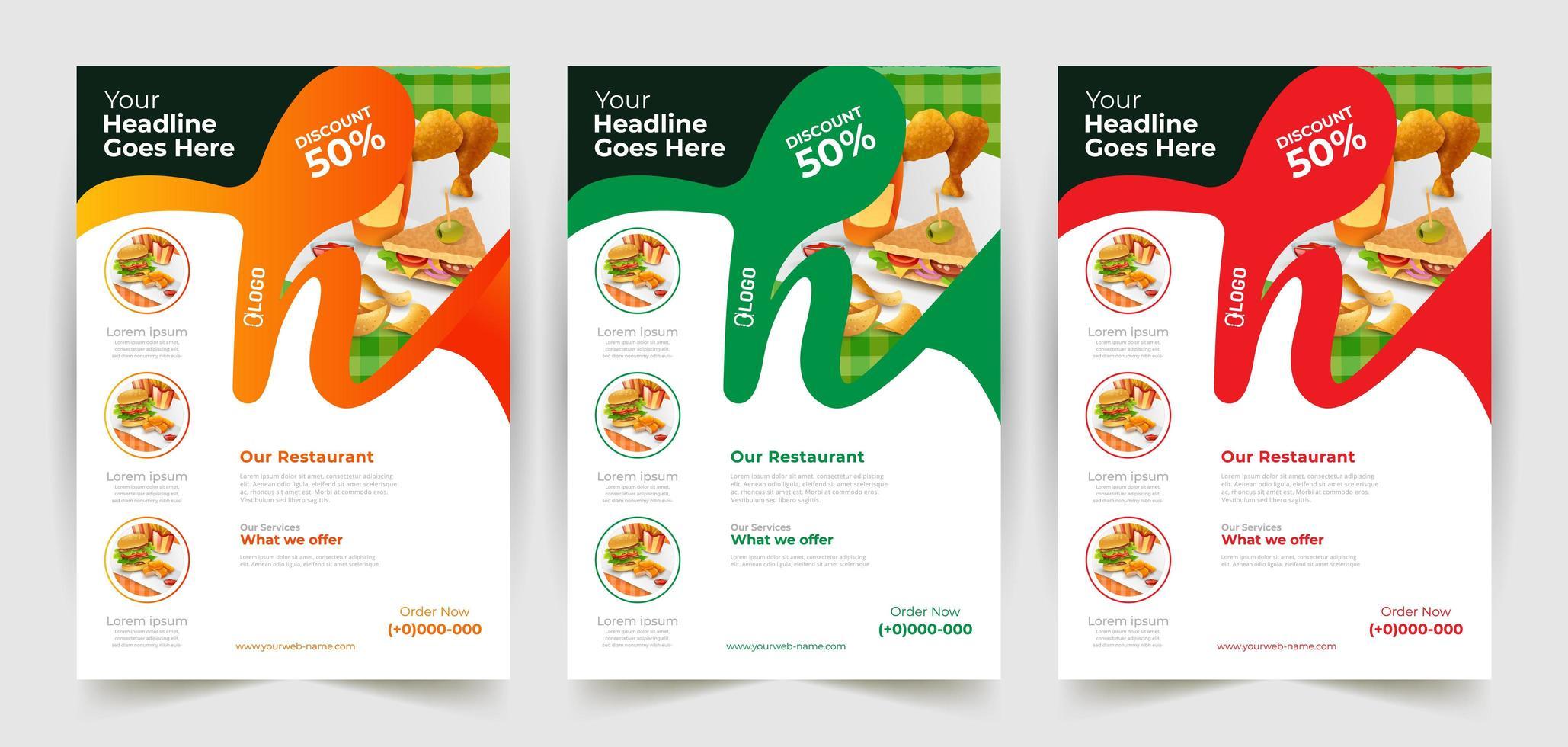 design volantino ristoranti colorati ondulati vettore
