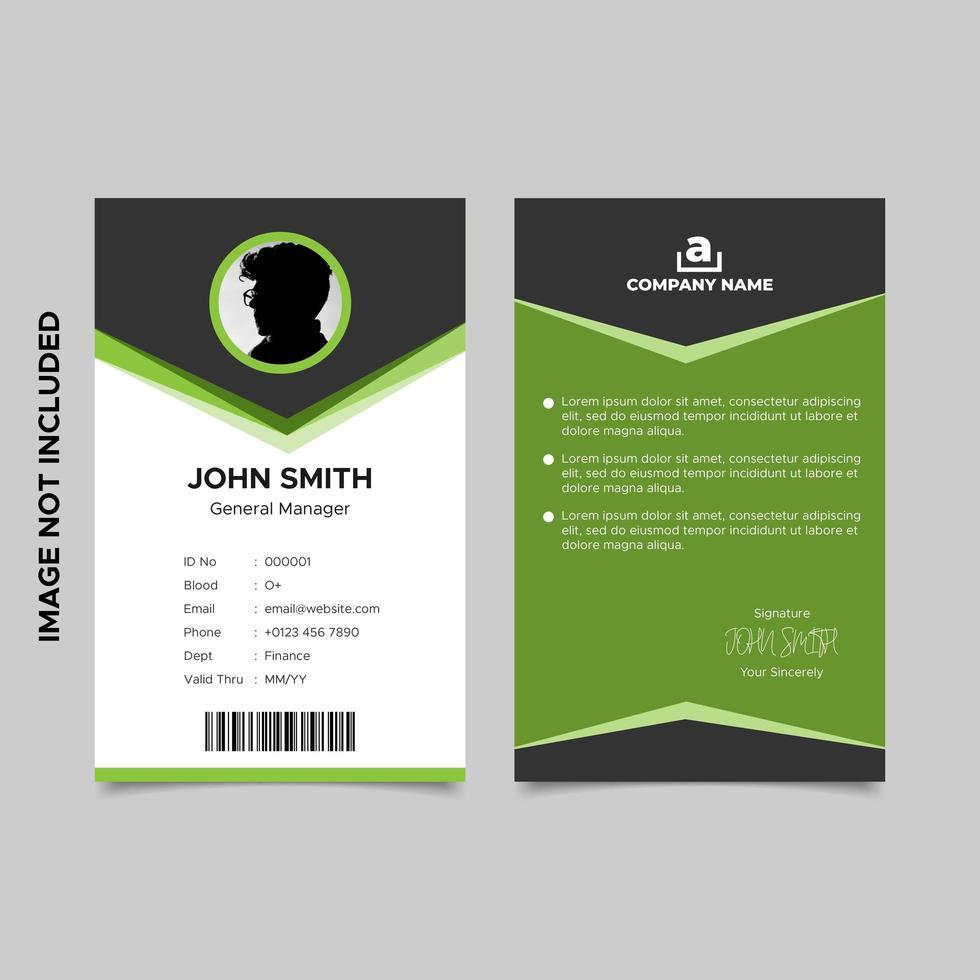 disegno del modello di carta d'identità dei dipendenti nero e verde vettore