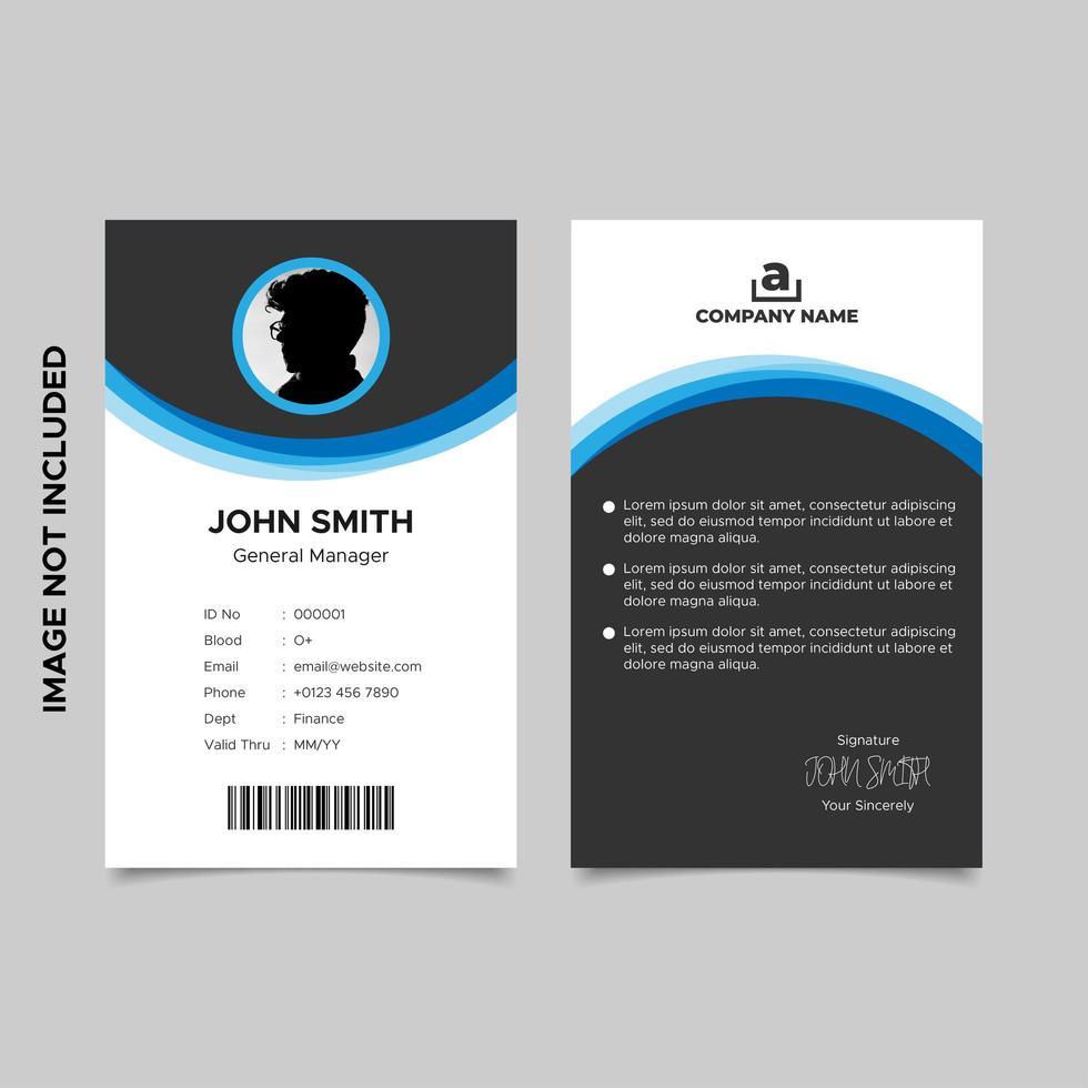 progettazione del modello di carta d'identità dei dipendenti aziendali vettore