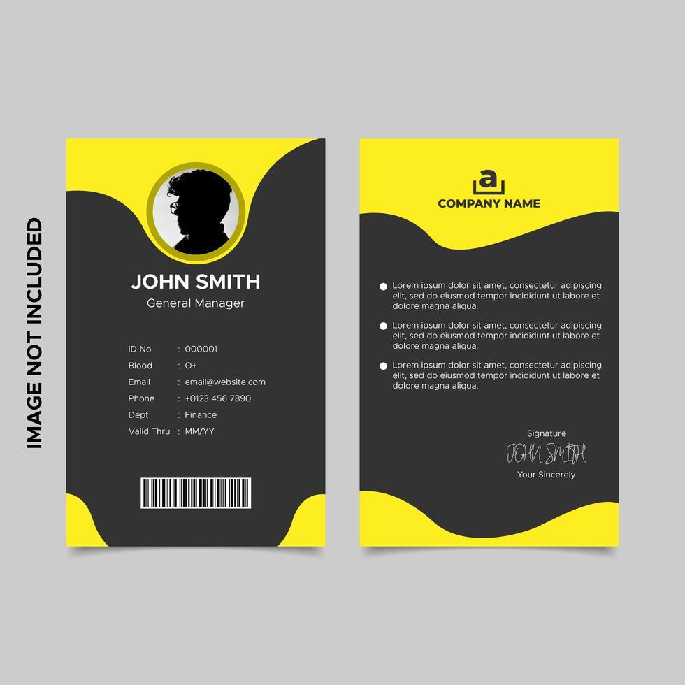 modello di carta d'identità dipendente nero e giallo vettore
