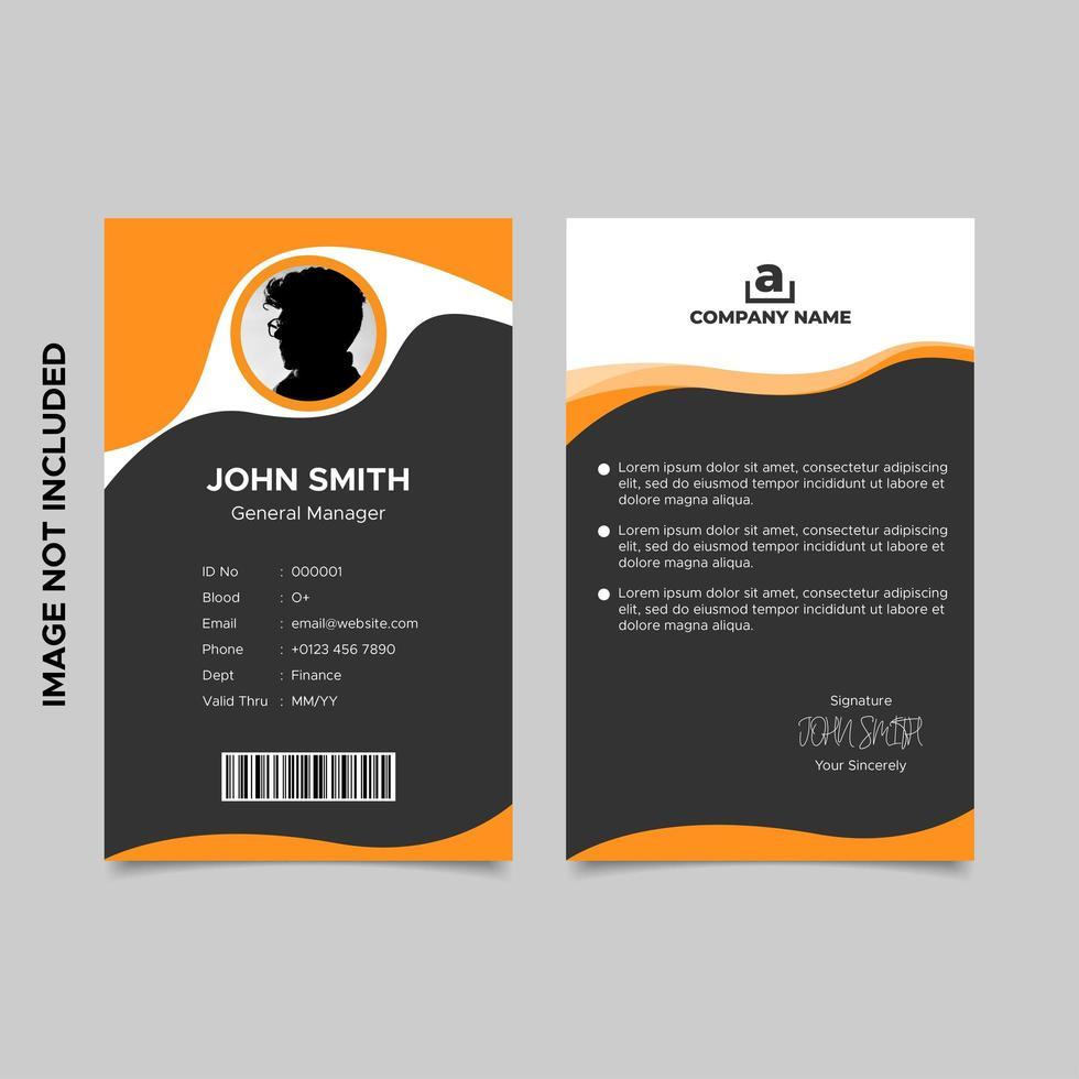 modello di carta d'identità dipendente nero arancione vettore