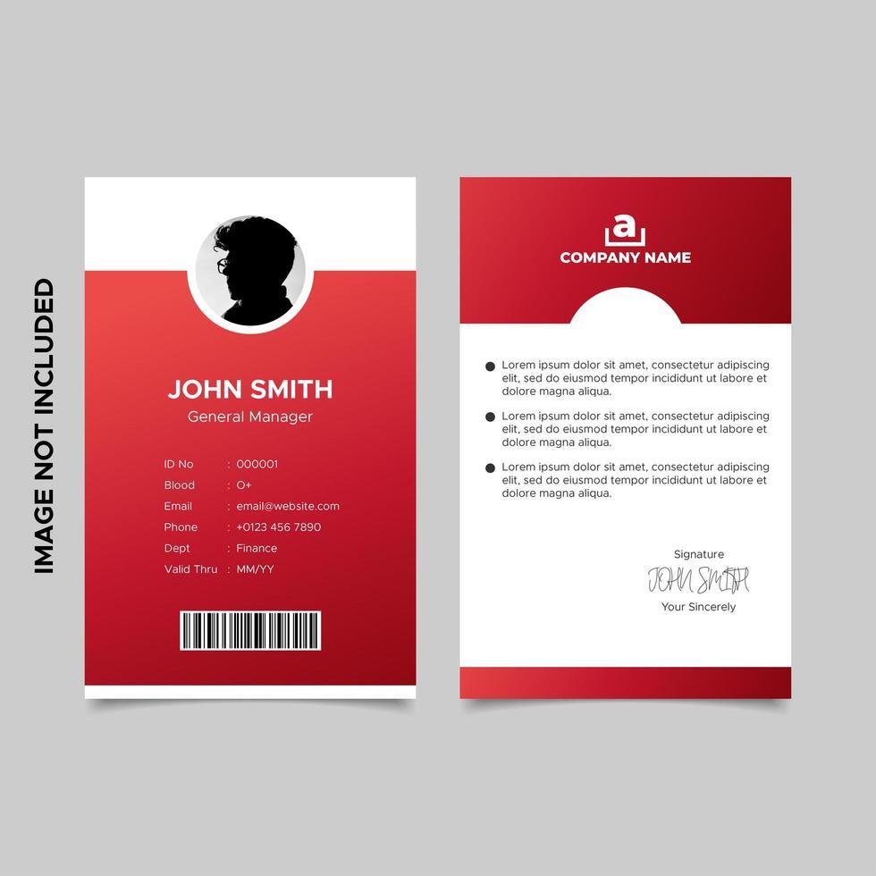 modello di carta d'identità dipendente rosso vettore