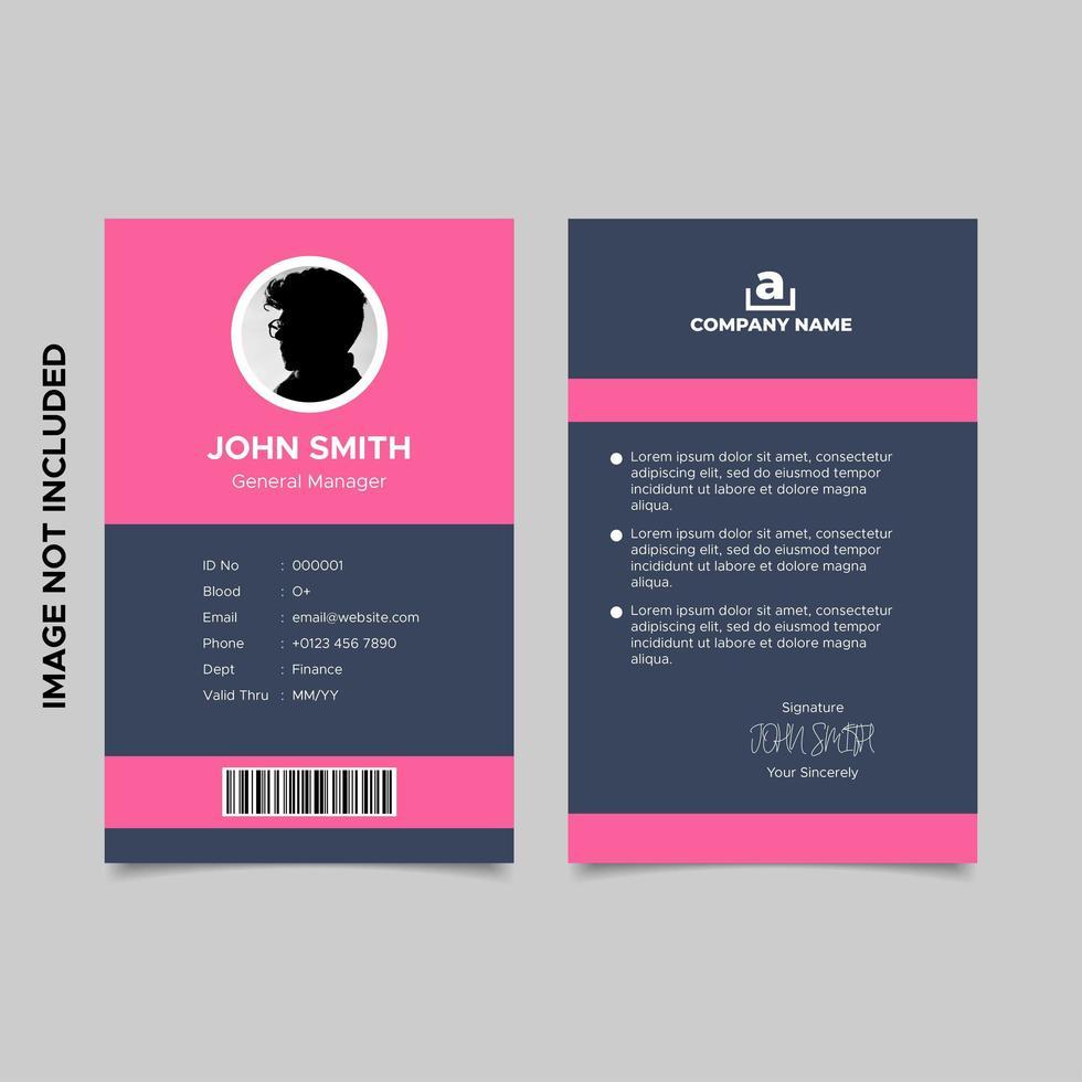 modello di carta d'identità dipendente design moderno vettore