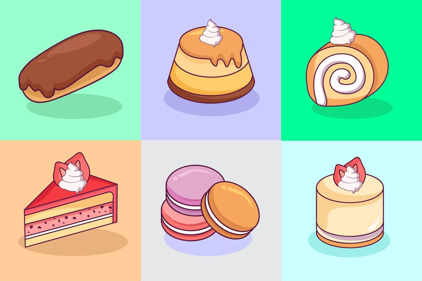 collezione di dolci kawaii vettore
