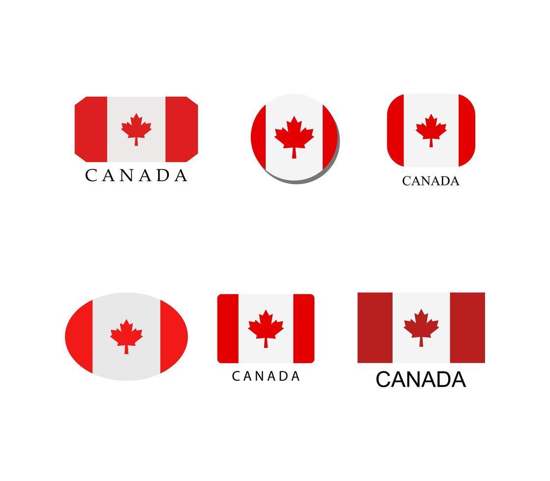 set di icone bandiera canadese vettore