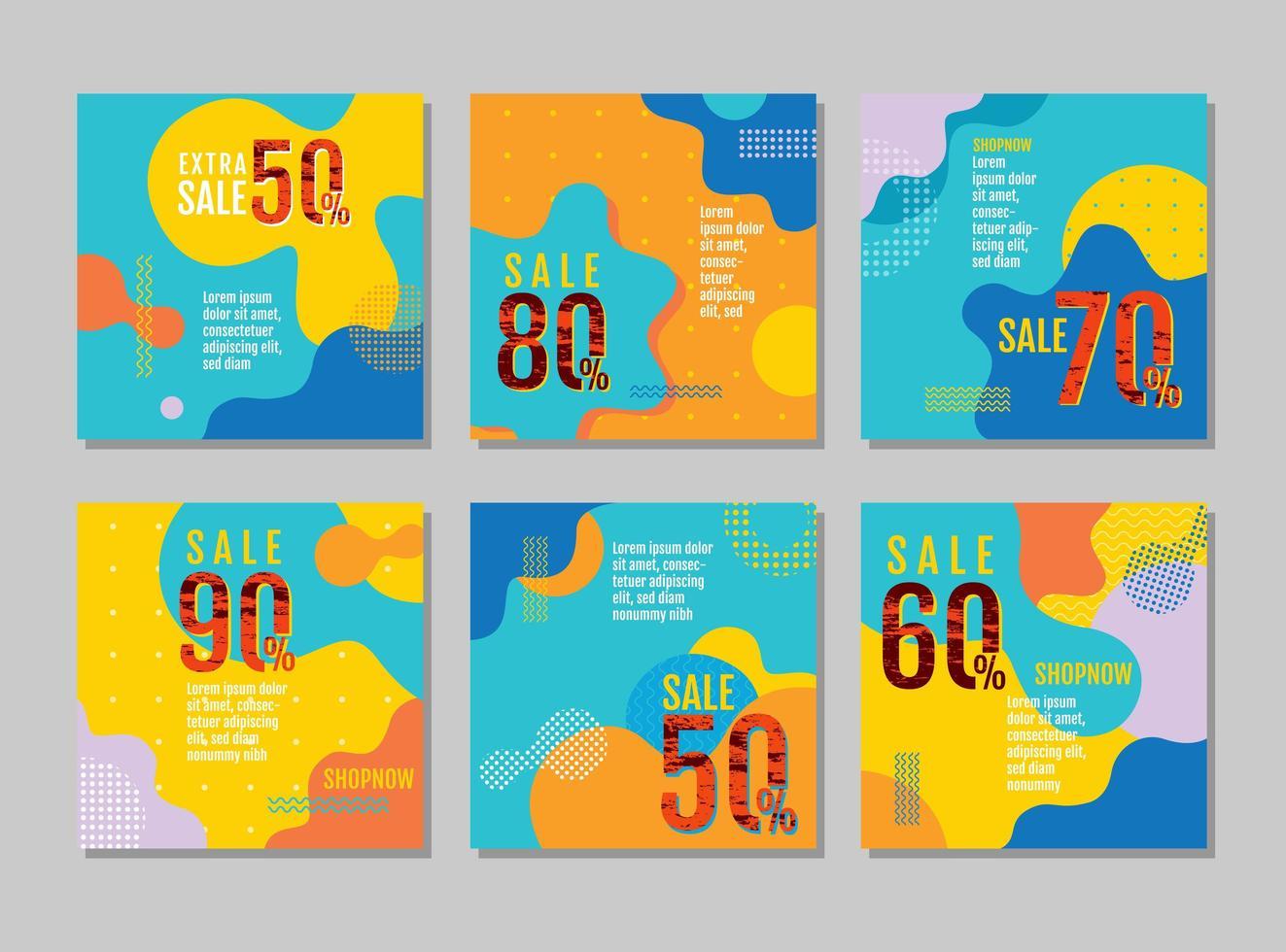 set di carte vendita brillante design ondulato vettore