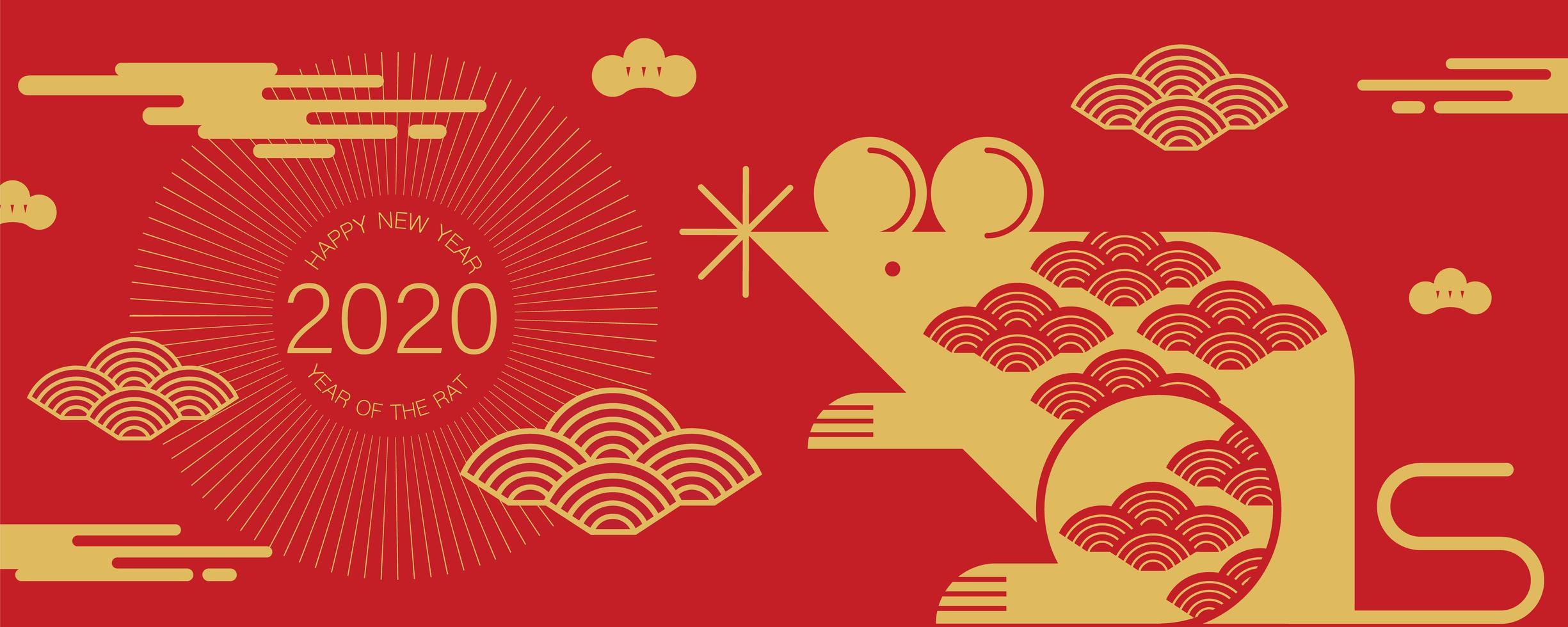 banner per il Capodanno cinese con ratto e nuvole vettore
