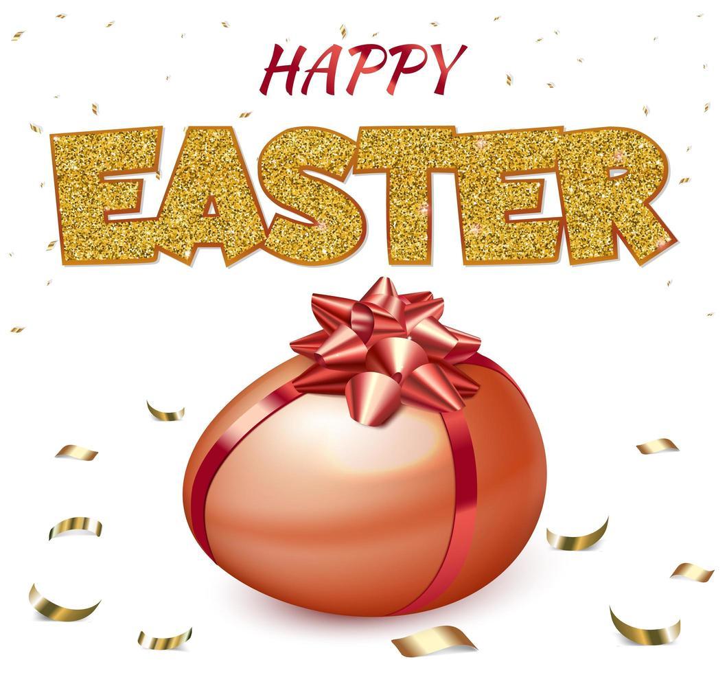 poster di buona Pasqua con uovo rosso vettore