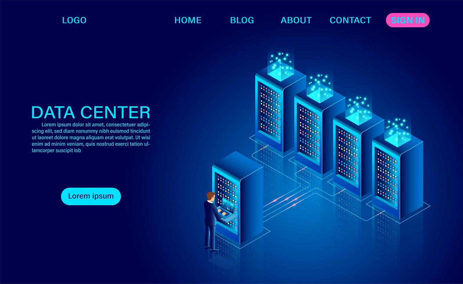 concetto di sala server del data center vettore