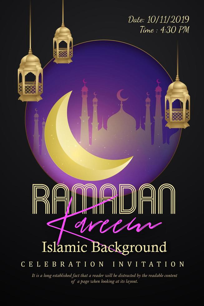 poster di Ramadan Kareem con silhouette della città nel telaio vettore