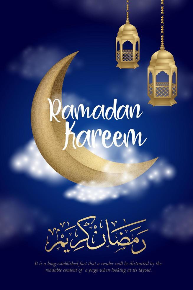 poster di Ramadan Kareem con falce di luna nel cielo nuvoloso vettore