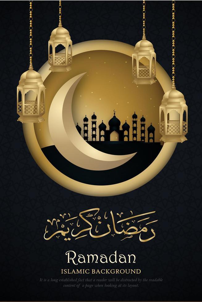 poster di Ramadan Kareem con cornice cerchio dorato vettore