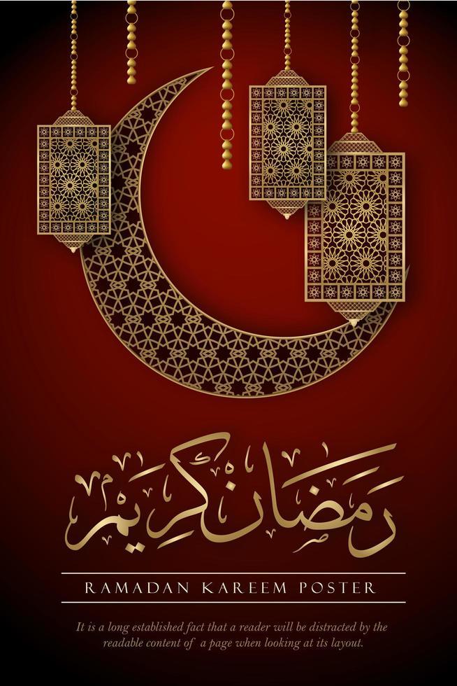 poster di Ramadan Kareem con elementi decorati su rosso vettore