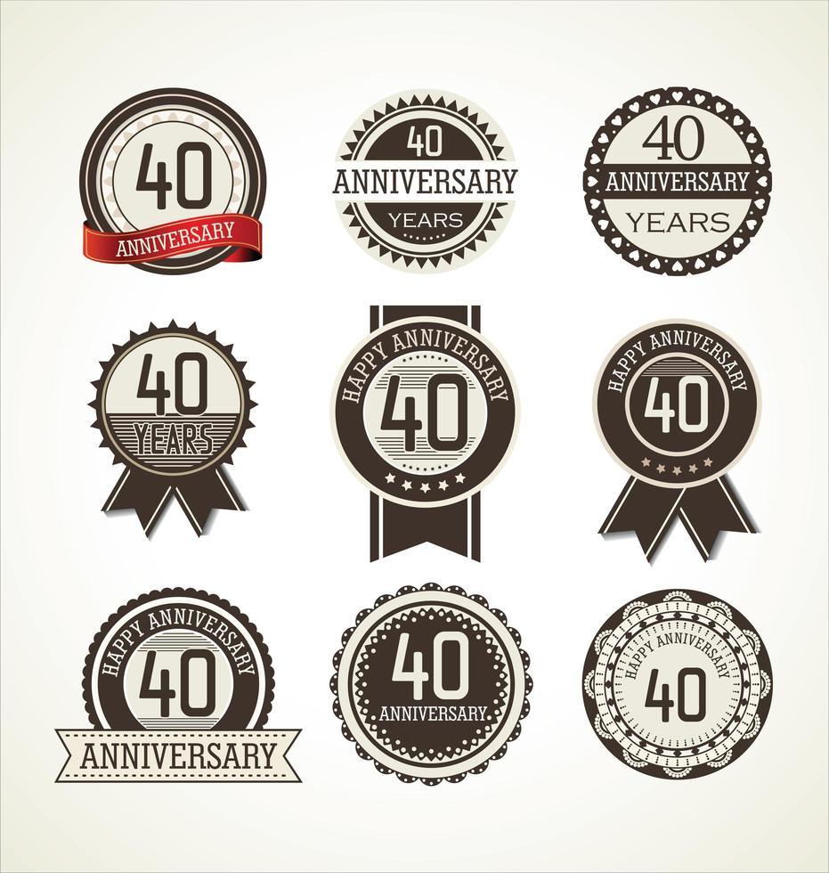 Set di badge rotondi per il 40 ° anniversario vettore