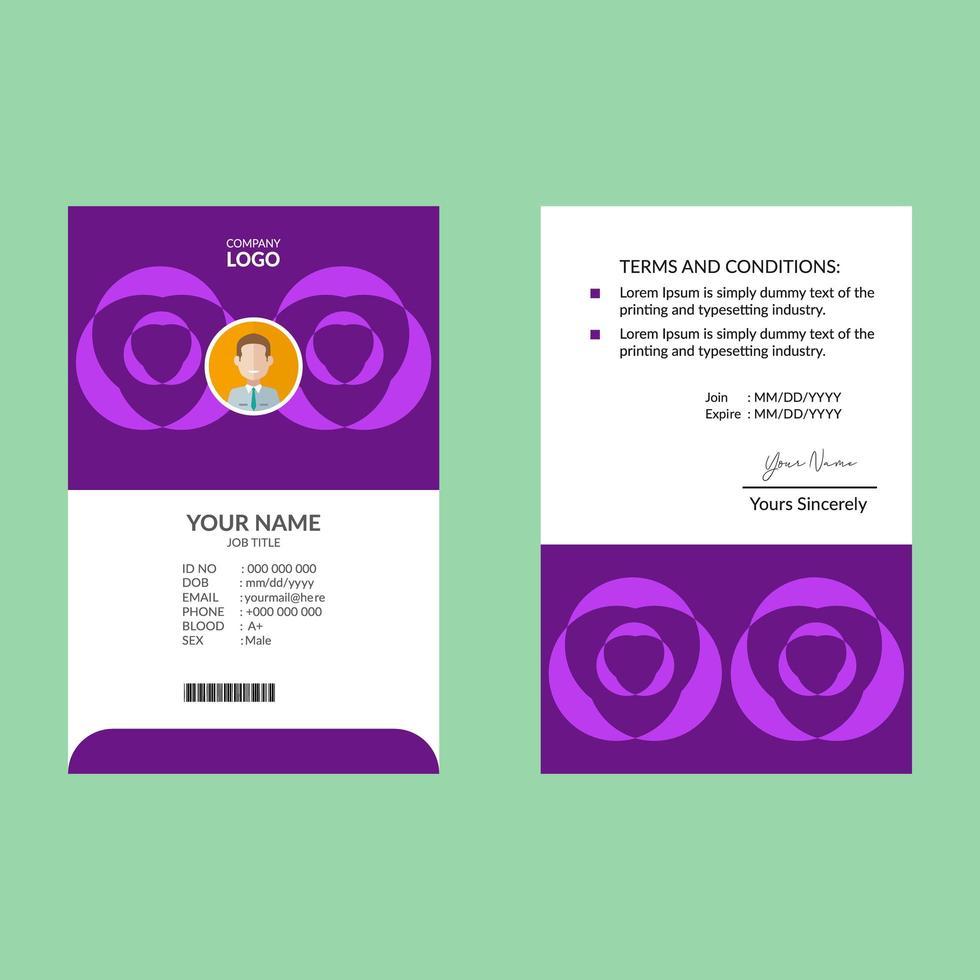 modello di carta d'identità di forma geometrica viola brillante vettore