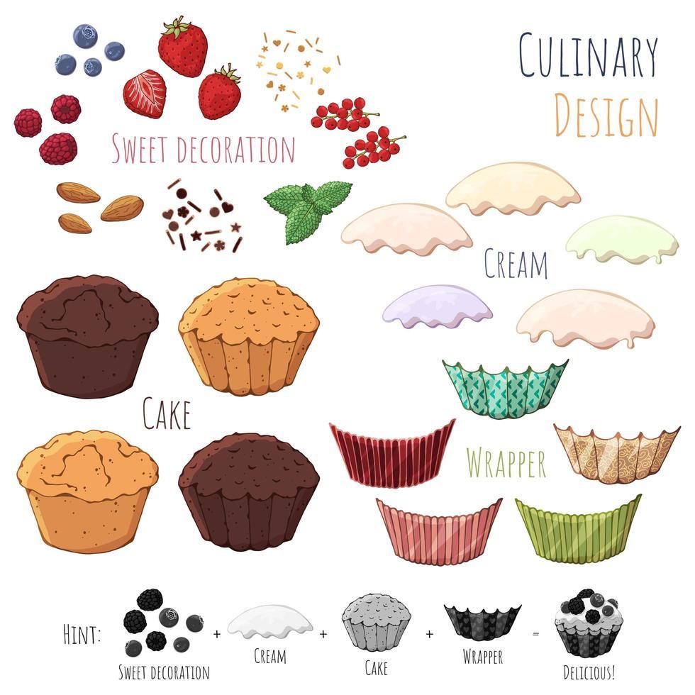 fai il tuo cupcake vettore