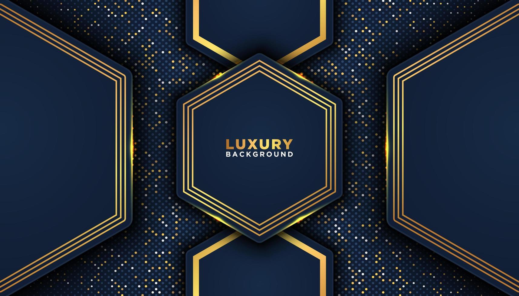 blu scuro geometrico con finiture in oro forme sfondo di lusso vettore