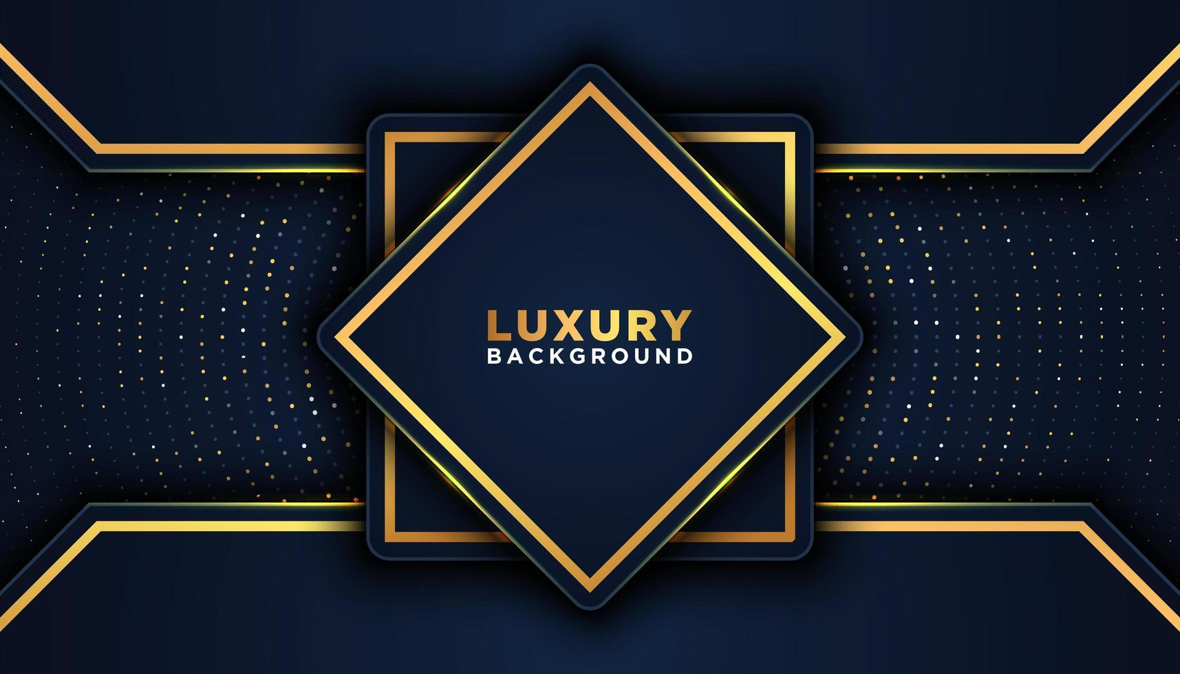 geometrica 3d sfondo scuro di lusso con accenti d'oro vettore