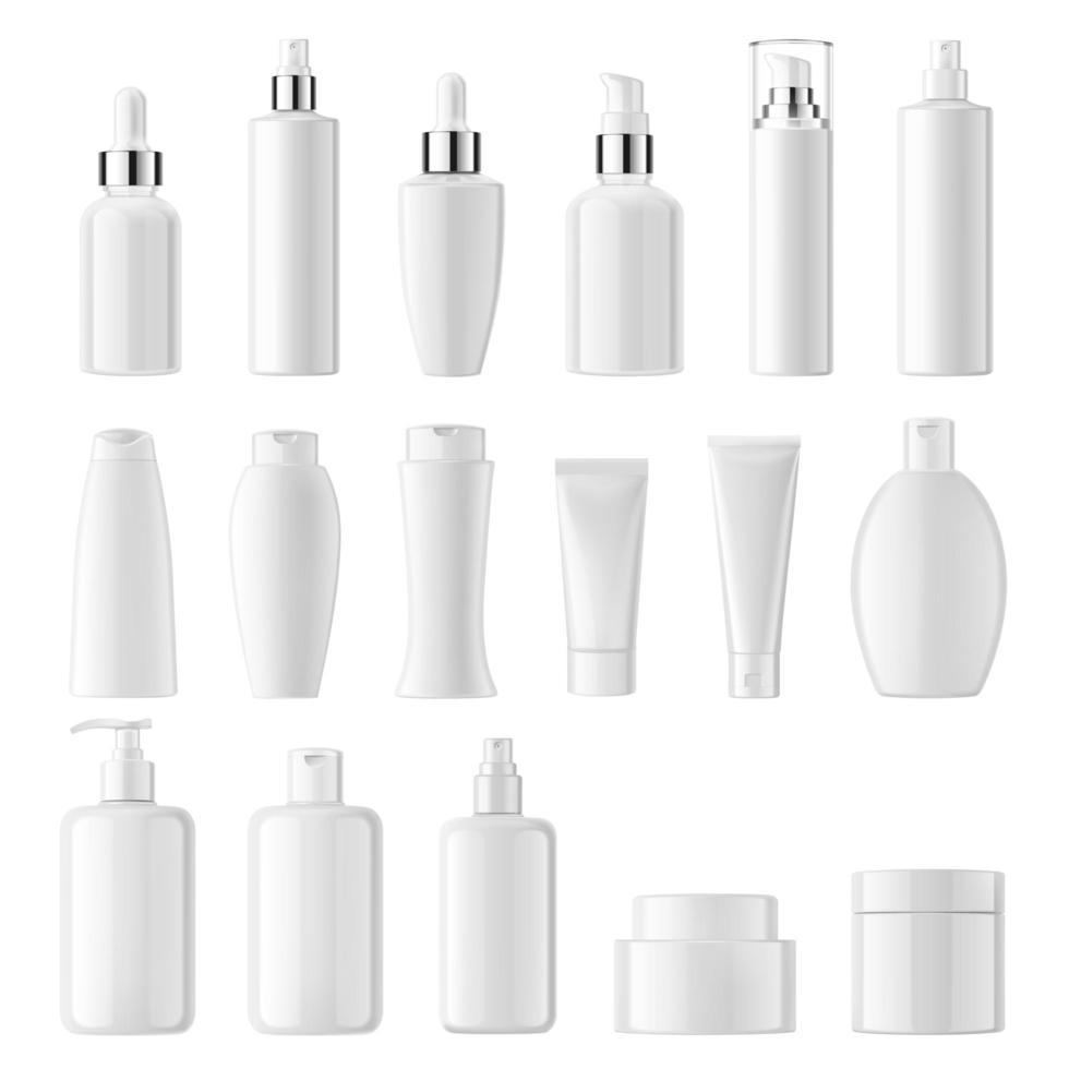 impostare cosmetici bottiglie bianche pulite su sfondo bianco vettore