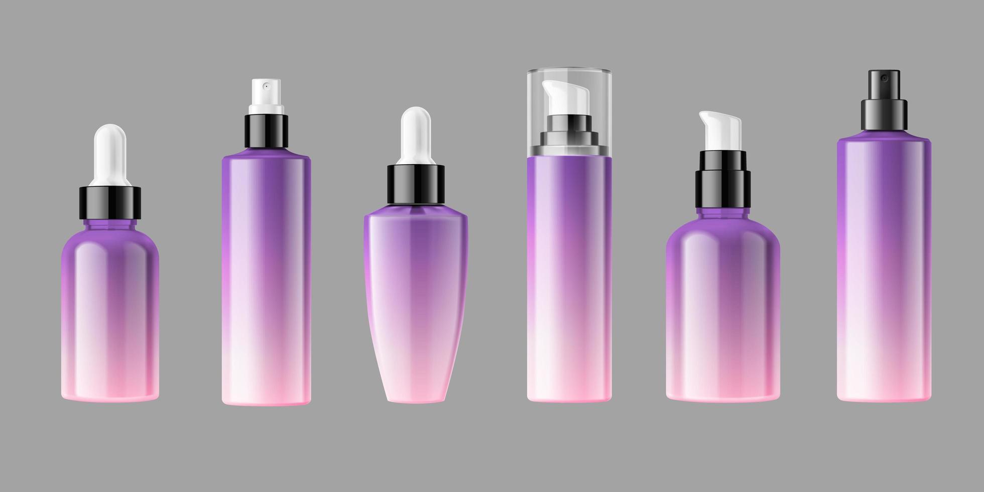 mockup d'imballaggio in bianco delle bottiglie cosmetiche vettore